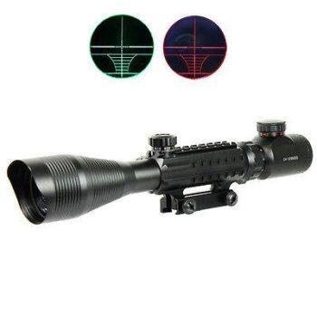 4-12X50 EG Optical Rifle Scope Red Green Dual illuminated with Side Rails-Mount