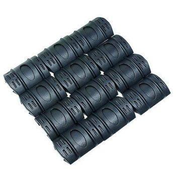12 PC Universal 20mm Weaver Picatinny Rubber Rail Covers Hand Guard - Black