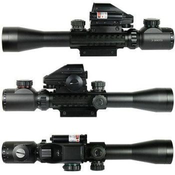 3-9X40 Tactical Rifle Scope Mil-dot with Holographic 4 Reticle Sight & Red Lase