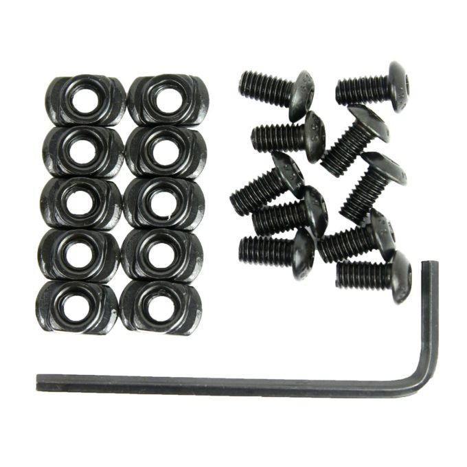 10 Pack M-LOK Screw and Nut Replacement Set for Rail Sections - with Wrench