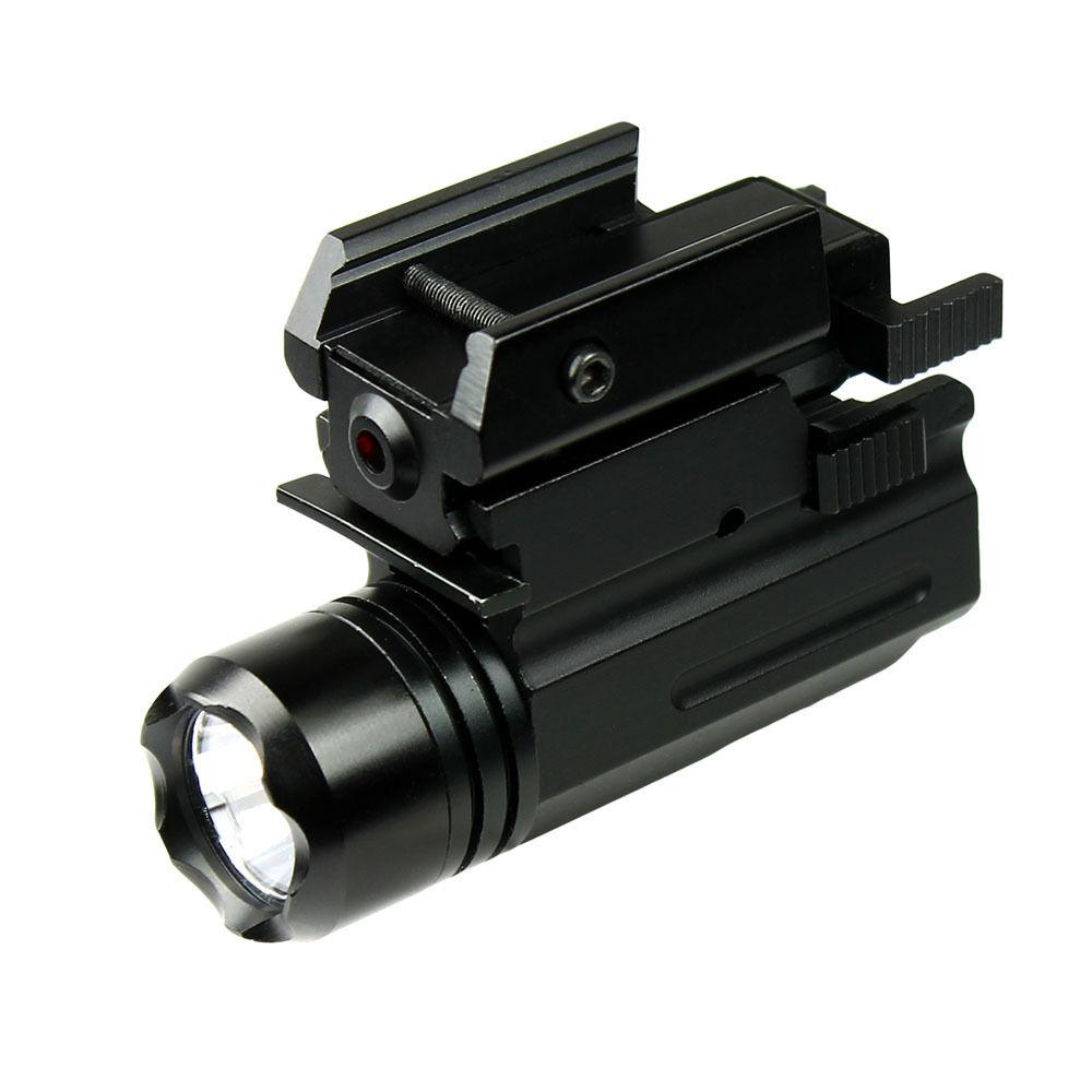 Compact Pistol LED Flashlight w// Low Profile Red Laser Sight for Glock Ruger