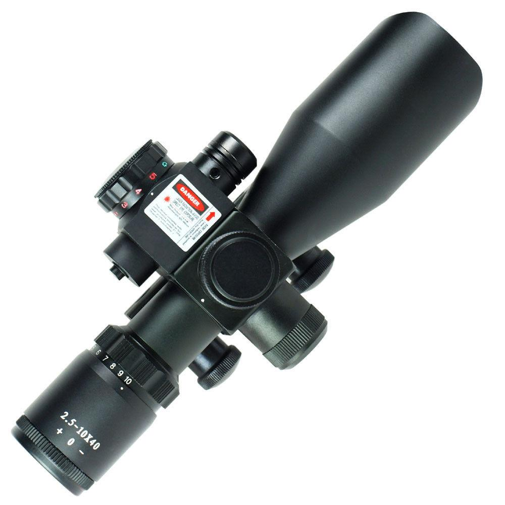 2.5-10x40 Tactical Rifle Scope Red Laser Dual illuminated Mil-dot w// Rail Mount