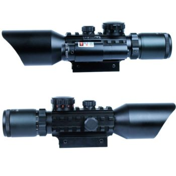 3-10x40 Tactical Rifle Scope Red Laser Dual illuminated Mil-dot with Rail Mounts
