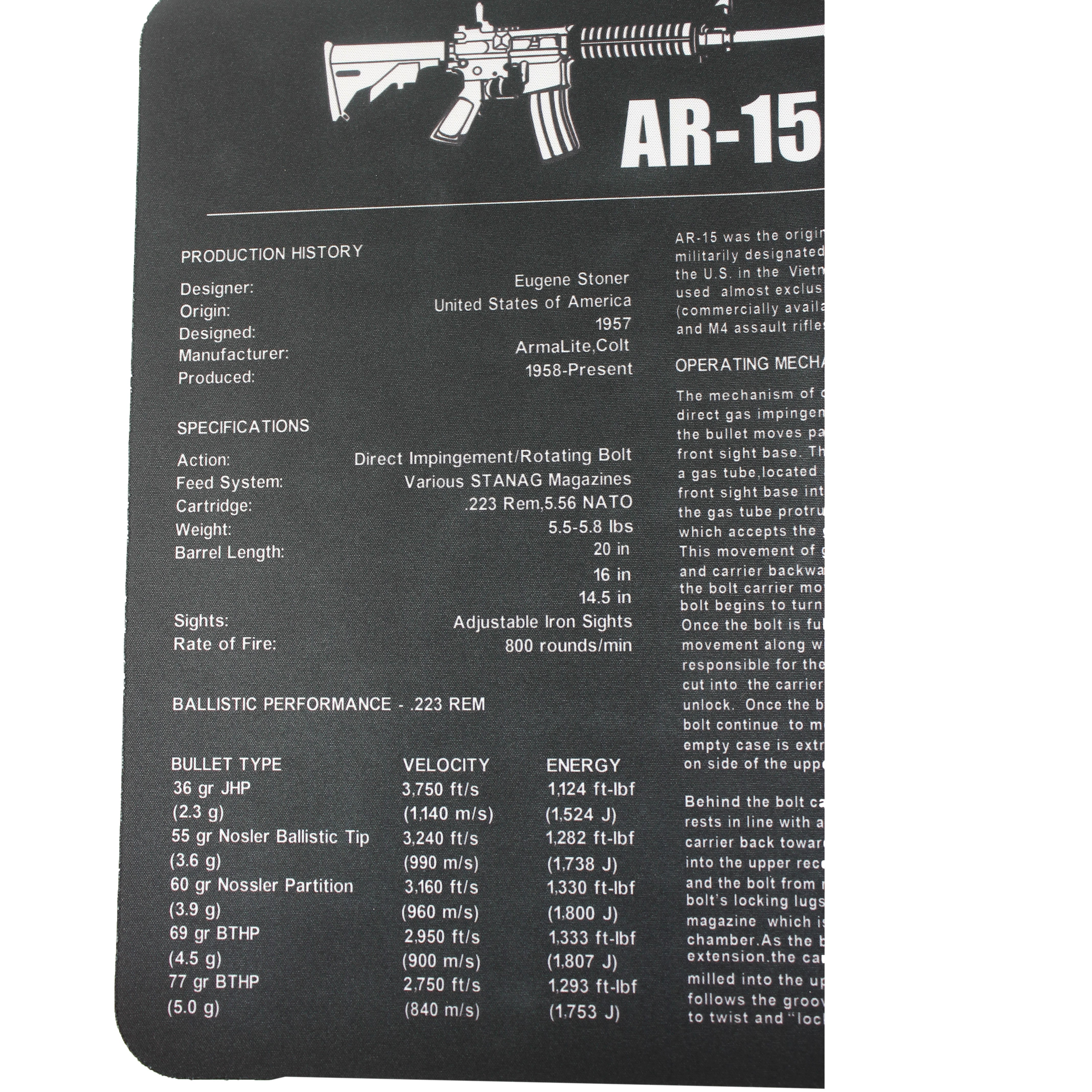 ar 15 m16 m4 gun cleaning bench mat with ar15 parts list black AR-15 Upper Parts List