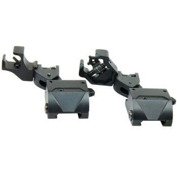 45 Degree Offset Flip Up Front & Rear Diamond Aperture Iron Sight Set - Folding