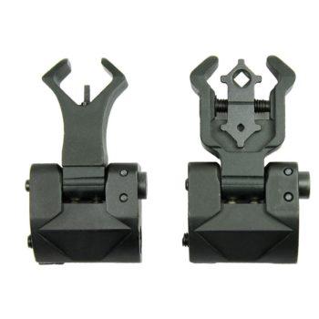 Premium Flip up Front Rear Iron Sight Set Dual Diamond Aperture BUIS  Black